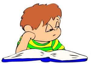 грустный ребенок за книгой