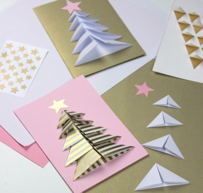 Картинки помощи, как сделать елку 3д из бумаги на открытку