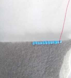 обработка бисером края броши образец